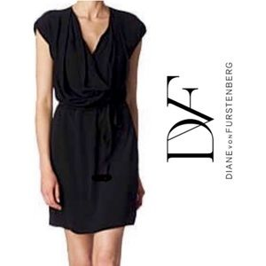 Diane Von Furstenberg Black Silk Reara Cowl Dress
